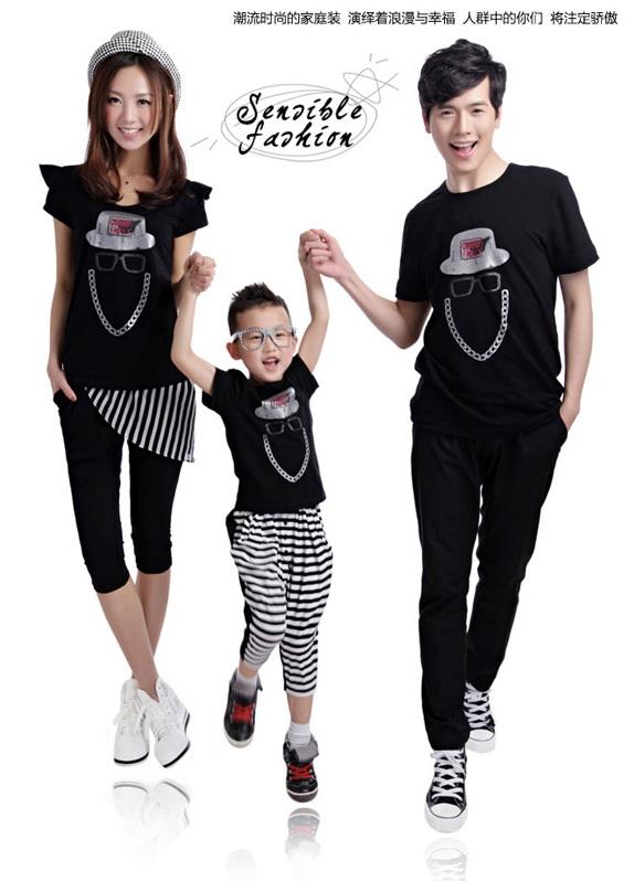 親子裝 分享 搖滾時代黑色短袖t恤上衣