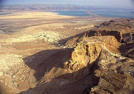 Massada- Aerial view from north-west, looking toward the Dead Sea-Original