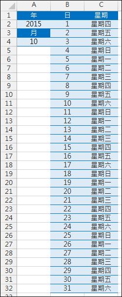 Excel-根據年和月來自動產生該月的日期和星期幾(DATE,TEXT,ROW)