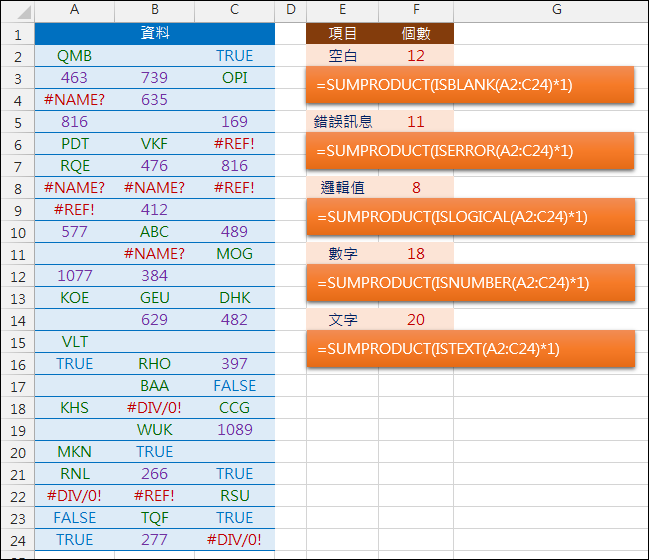 Excel-計算各種資料類型的數量(ISBLANK,ISERROR,ISLOGICAL,ISNUMBER,ISTEXT)