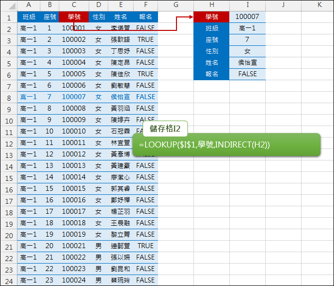 Excel-資料檢索時用LOOKUP取代VLOOKUP(INDIRECT)