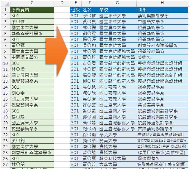 Excel-資料重組(多列轉多欄)與統計(SUMPRODUCT,ROW,INT,MOD)