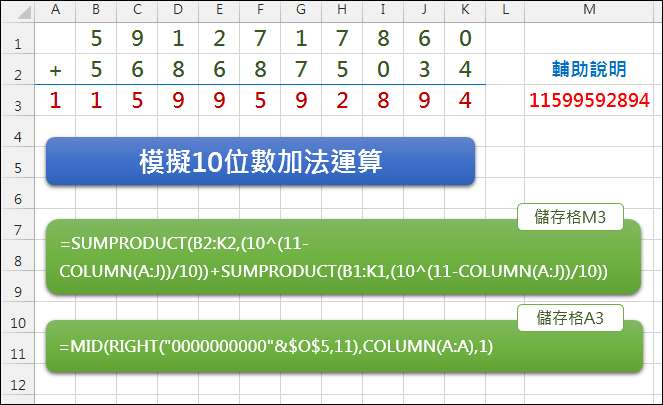 Excel-模擬10位數加法運算(SUMPRODUCT,RIGHT,MID,COLUMN)