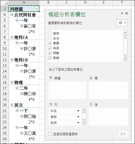 使用樞分析表建立表格式摘要結果