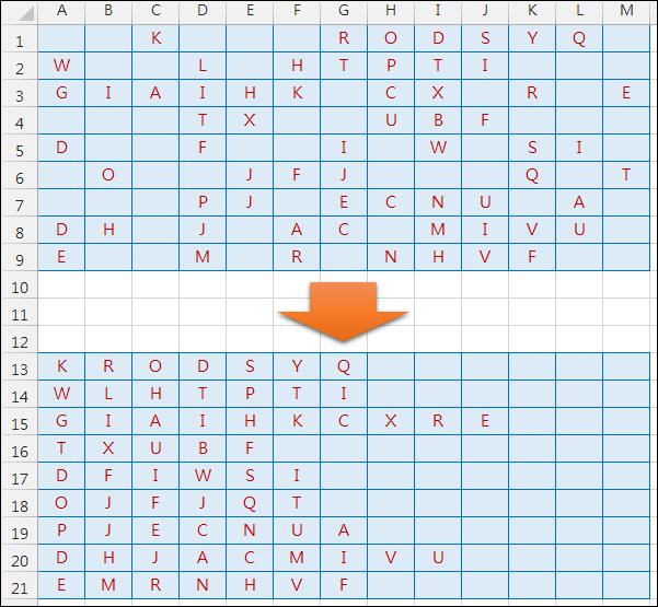Excel-略過空白儲存格將資料依序向左集中(OFFSET,SMALL,COLUMN,PHONETIC)
