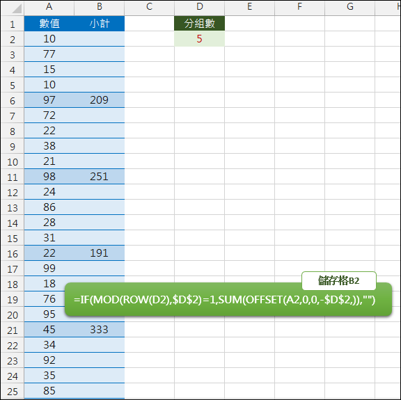 Excel-取固定數量小計(OFFSET,ROW,MOD)