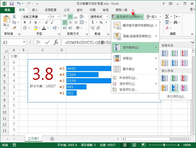 Excel-由分數清單計算加權平均並在儲存格中繪製橫條圖