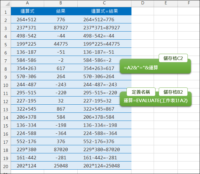 Excel-利用儲存格中的運算式計算運算結果(EVALUATE)