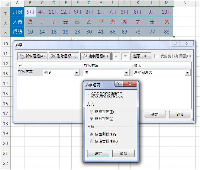 Excel-在表格中取列來做為排序依據(循列排序)