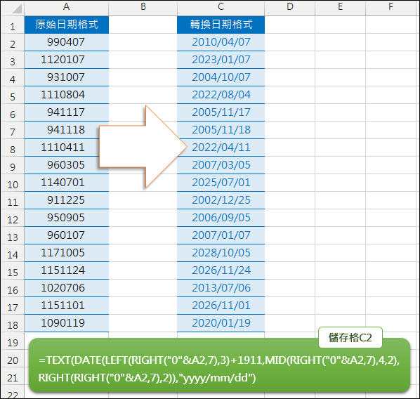 Excel-民國年格式轉換為西元年格式(RIGHT,MID,LEFT,TEXT,DATE)