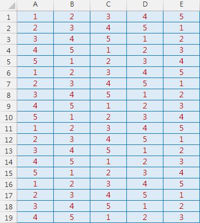 Excel-數個字元循環顯示(MOD,MID,ROW,COLUMN)