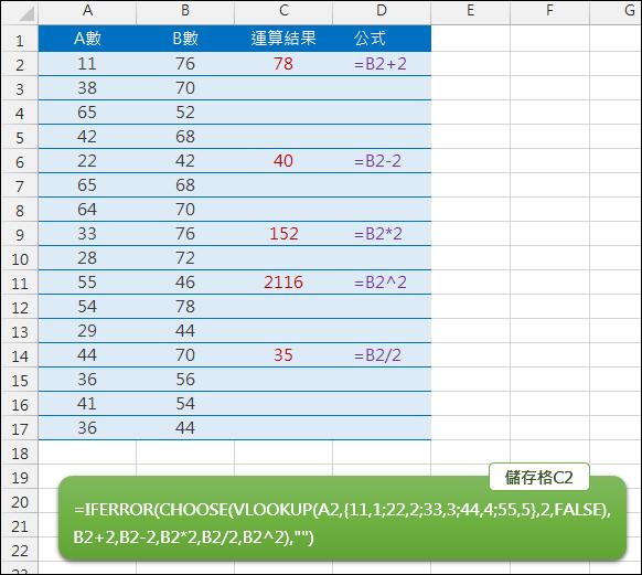 Excel-根據儲存格內容執行不同公式(CHOOSE,VLOOKUP)