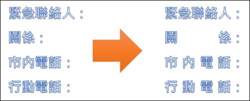 Word-將不同字數的標題設定成相同的寬度