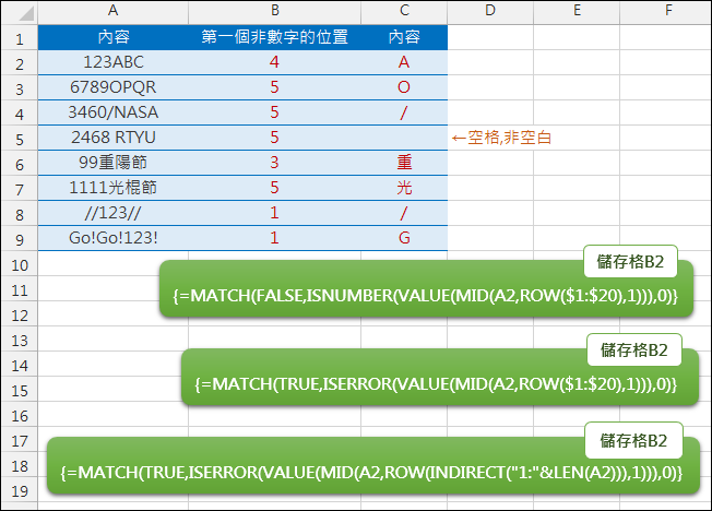 Excel-找出儲存格中第一個非數字的位置(ISNUMBER,MATCH,陣列公式)
