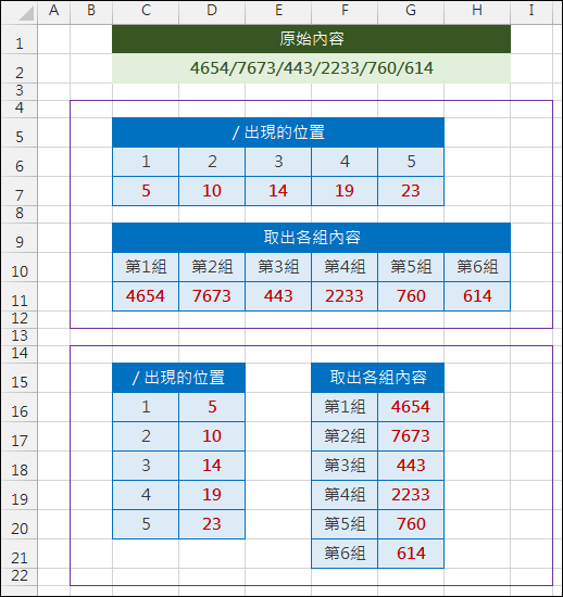 Excel-手動資料剖析(MID,ROW,COLUMN,陣列公式)