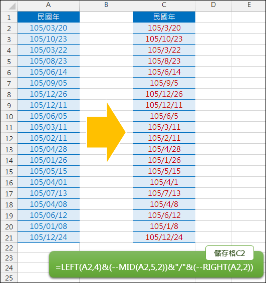 Excel-將日期中月、日第1碼的0去除(LEFT,MID,RIGHT)