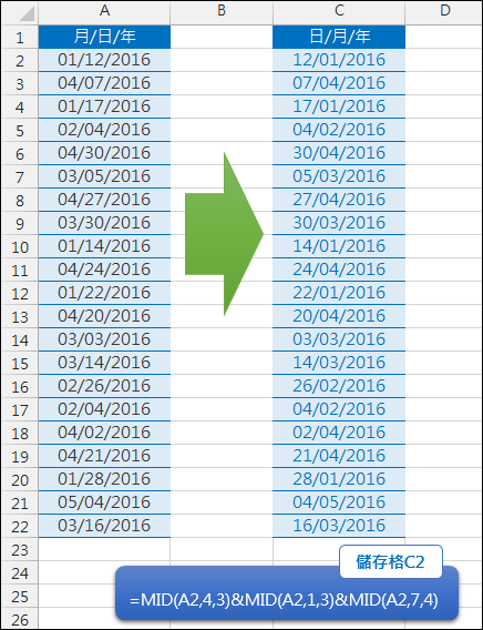 Excel-調整非數值的日期格式(MID)