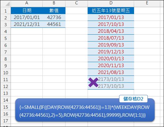 Excel-列出近五年13號星期五的日期(SMALL,ROW,WEEKDEY,陣列公式)