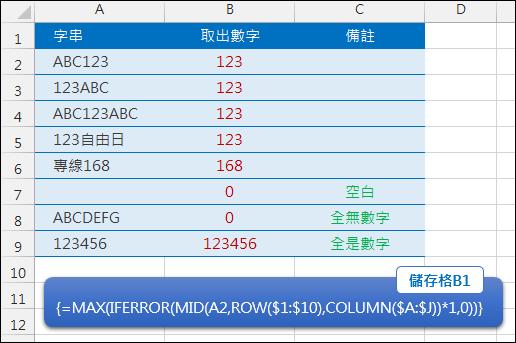Excel-取出字串中的數字(ROW,COLUMN,陣列公式)