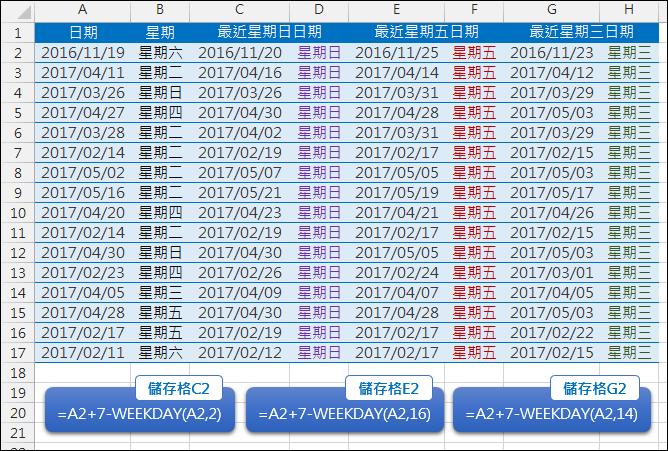 Excel-依指定日期找出最靠近的星期幾日期(WEEKDAY)