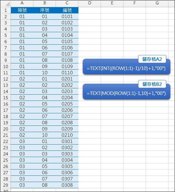 Excel-產生連續2碼的號碼(INT,MOD,TEXT)
