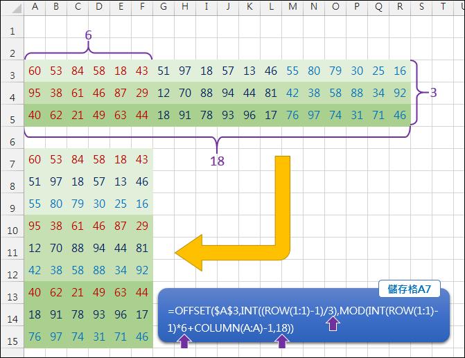 Excel-多欄轉少欄且少列轉多列(INT,MOD,OFFSET)