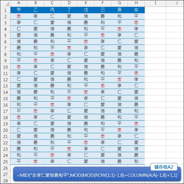 Excel-依字串產生固定順序排列的字元(INT,MID)