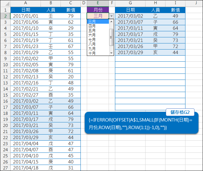 Excel-用公式依月份篩選資料(陣列公式,OFFSET,MATCH)