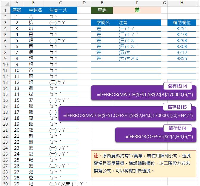 Excel-替代陣列公式以在大筆資料中加快速度(MATCH,OFFSET)