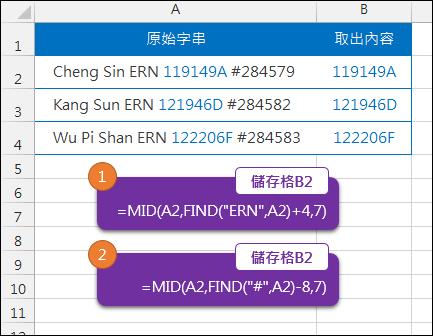 Excel-找出儲存格字串中的部分文字(FIND,MID)