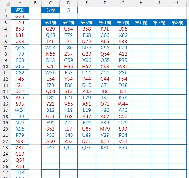 Excel-動態將一欄資料轉換成多欄(OFFSET,COLUMN,ROW)