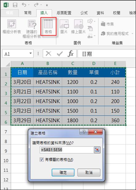 Excel-在含有小計欄位的資料表中新增一列時自動產生小計公式