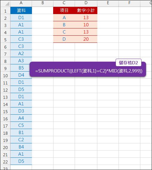 Excel-取出第1個字元之後的數字計算總和(SUMPRODUCT,LEFT,MID)