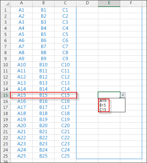 Excel-設定多個儲存格只能輸入同一列的內容(資料驗證)