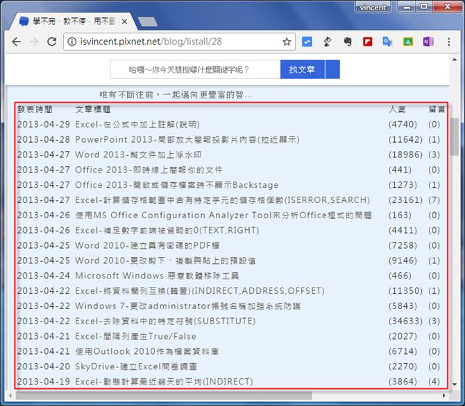 Google試算表-抓取網頁資料(IMPORTHTML)