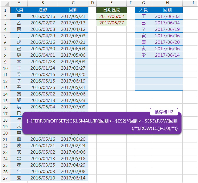 Excel-依日期區間列出符合的清單(SMALL,OFFSET,ROW,陣列公式)