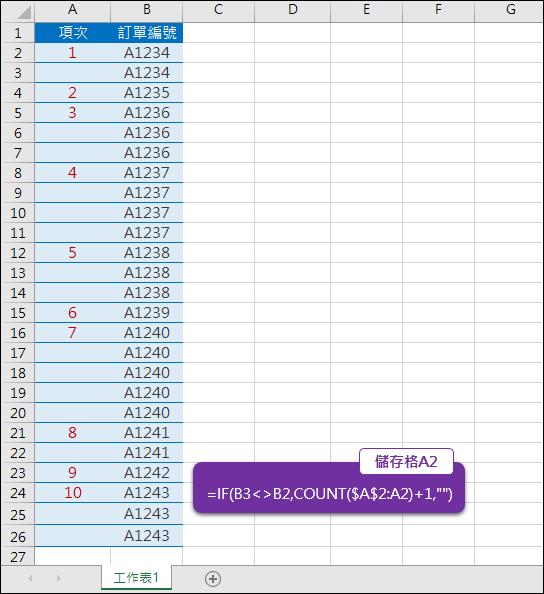 Excel-根據連續的訂單編號自動訂出項次(COUNT)