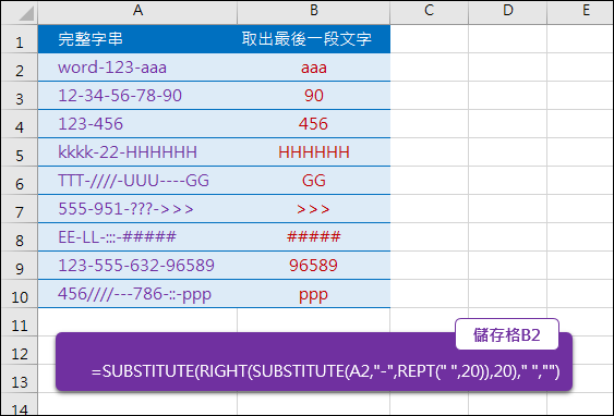 Excel-由多段以「-」串接的字串中找出最後一段(SUBSTITUTE,REPT)