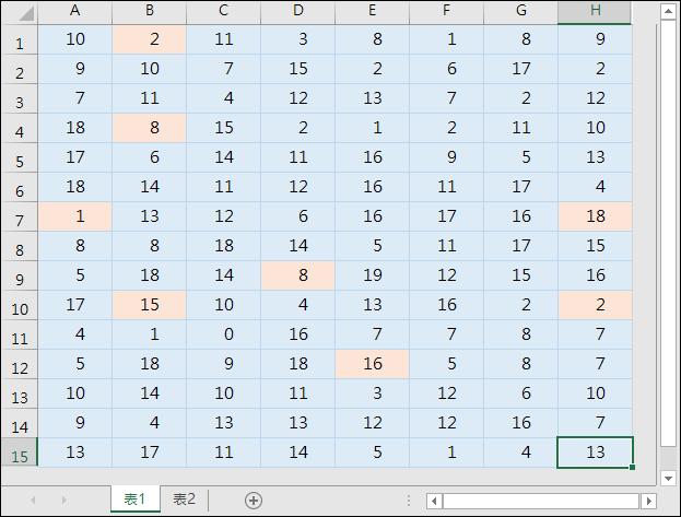 Excel-在活頁簿的2個工作表中標示相同內容的儲存格