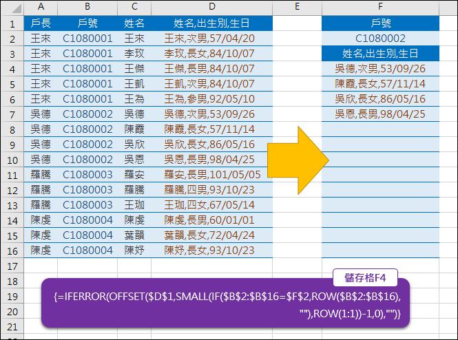 Excel-由原始清單中挑出符合指定內容的清單(ROW,COLUMN,INT,MOD,OFFSET)