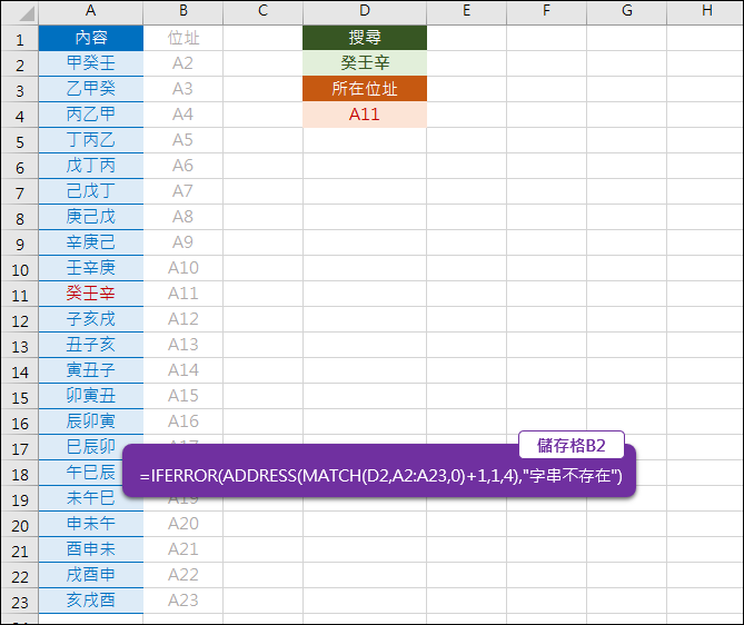 Excel-查詢查詢指定字串所在的儲存格位址(MATCH,ADDRESS,IFERROR)