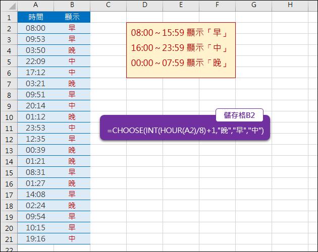 Excel-時間依不同時段顯示不同名稱(INT,HOUR,CHOOSE)