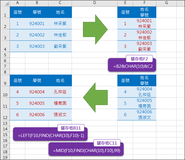 Excel-合併2筆資料上下分列或是分開2筆資料左右分欄(CHAR(10))
