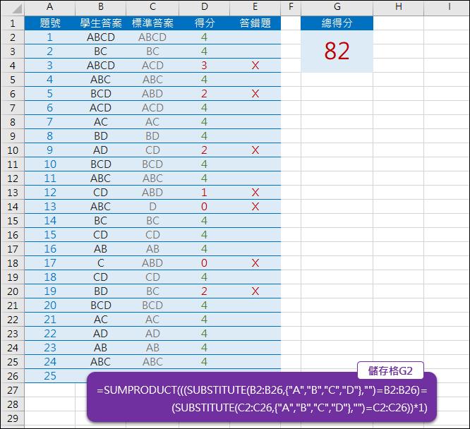 Excel-比對答案自動計算分數(多重選擇)(SUMPRODUCT,SUBSTITUTE)