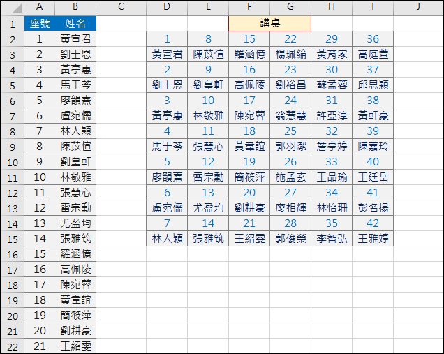 Excel-將學生名條轉換為座位表(OFFSET,INT,ROW,COLUMN)