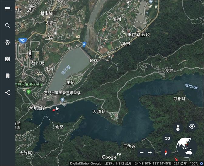 Google Earth-在地圖上查詢地點的高度