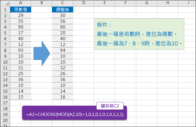 Excel-根據數值最後一碼調整(CHOOSE,MOD)