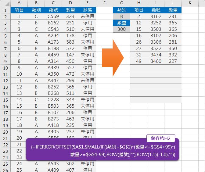 Excel-多條件篩選資料(OFFSET,SMALL,ROW)