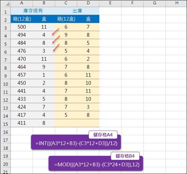 Excel-箱數和盒數的換算(INT,MOD)