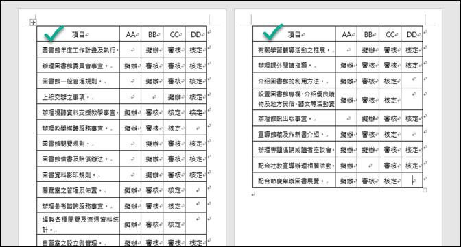 Word-如何解決表格跨頁無法重覆標題列的問題